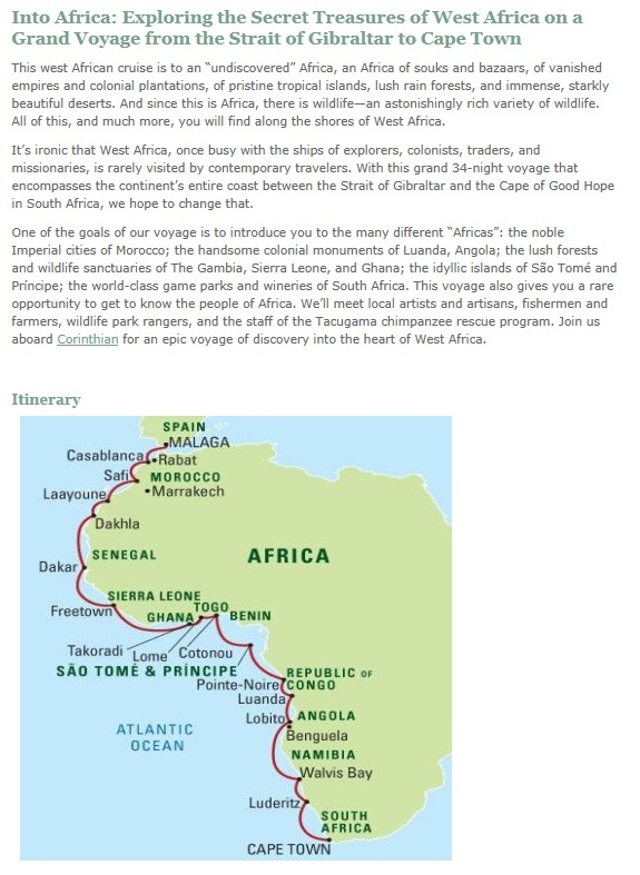 Small Ship Coastal Cruises – West Africa – Spain to South